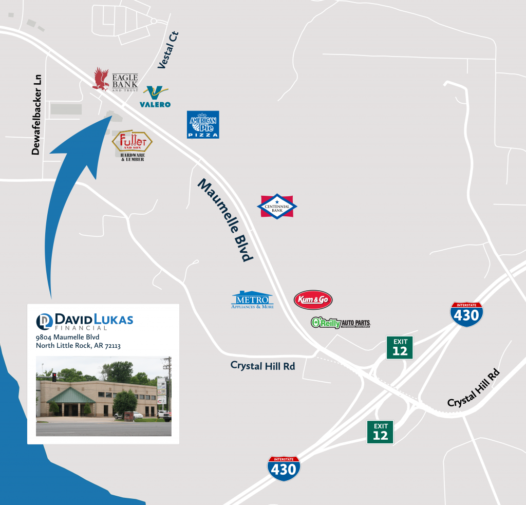 Map to David Lukas Financial. The office is on the south side of the intersection of Maumelle Boulevard and Vestal Court.